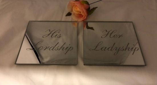 Set Of 2 Mirror Glass and Silver Glitter His Lordship and Her Ladyship Coasters