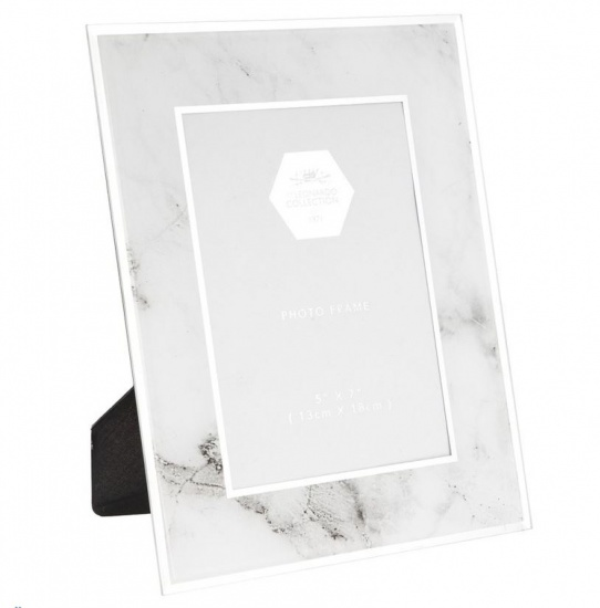 White & Grey Glass Marble Effect 5'' x 7'' Picture Photo Frame