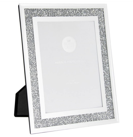 Mirror and Crystal 6'' x 8'' Picture Photo Frame - Crushed Diamond Crystal Frame