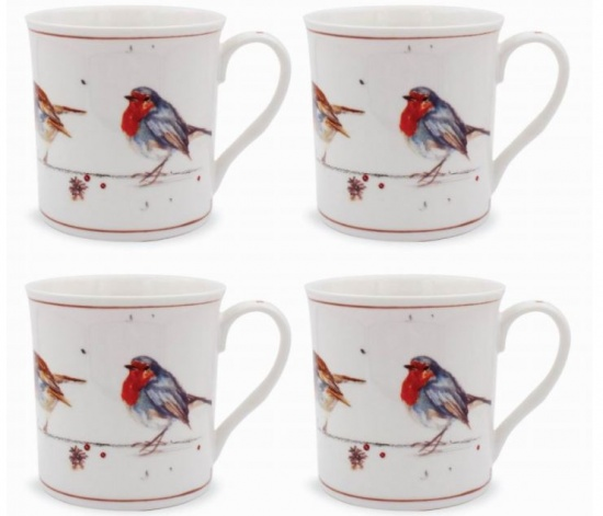 Winter Robins Set of 4 Fine China Mugs - Gift Boxed