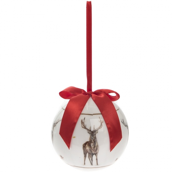Winter Stag Large Christmas Bauble - Red Ribbon Stags Bauble Gift Boxed