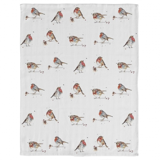 Winter Robin Tea Towel Cotton Tea Towel - Robins Print
