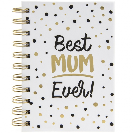 Best Mum Ever - A6 Spiral notebook with black and gold spotted design