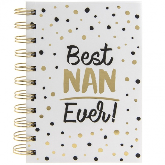 Best Nan Ever - A6 Spiral notebook with black and gold spotted design