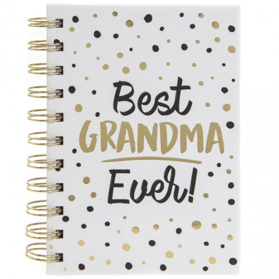 Best Grandma Ever - A6 Spiral notebook with black and gold spotted design