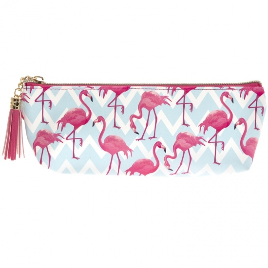 Flamingo Bay Zip Cosmetic / Make Up Bag with Tassel  ,