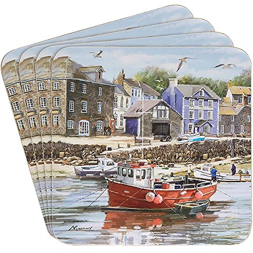 Old Harbour Fishing Village Scene Set Of 4 Coasters By Macneil Studio