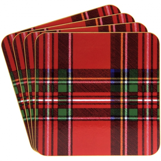 Red Tartan Set Of 4 Coasters