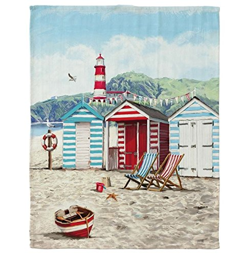 Sandy Bay Tea Towel Beach Hut Seaside Theme Macneil Studio - Cotton Teatowel