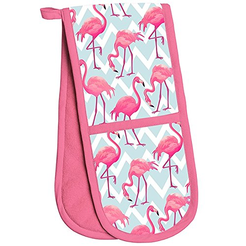 Flamingo Bay Pink  Double Oven Gloves