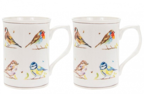 Country Birds Set of 2 Fine China Mugs - British Birds Robin, Blue Tit, Sparrow