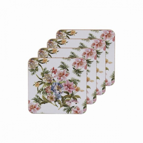 Lily Rose Set of 4 Coasters - Pink Roses and Lilies Floral Theme