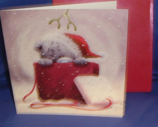 Me to You Christmas Card - ''Fiancee'' Tatty Peeking out of Gift