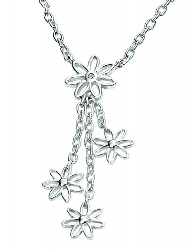D For Diamond - Silver Triple Daisy Drop Necklace