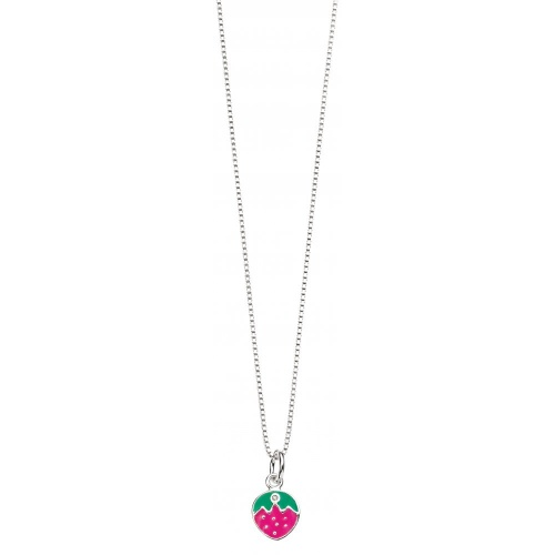 Silver D For Diamond Strawberry Pendant Necklace