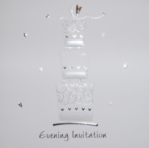 Wedding cake Luxury White Wedding Evening Invitations - Pack of 5