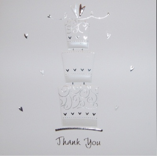 Wedding cake Luxury White Wedding Thank You Cards - Pack of 5