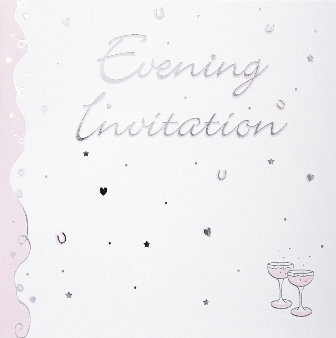Pink Champagne Luxury Wedding Evening Invitations