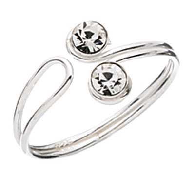 Silver and Cubic Zirconia Toe Ring