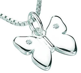 Silver D For Diamond Butterfly Pendant Necklace
