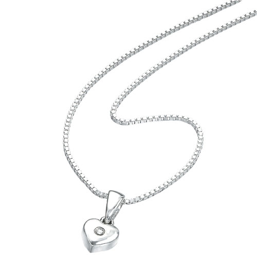 Silver D For Diamond Heart Pendant Necklace