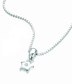 Silver D For Diamond Star Pendant Necklace