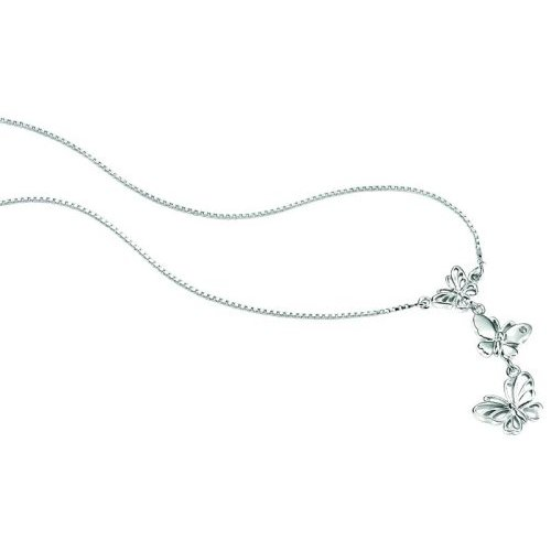 Silver D For Diamond Triple Butterfly Pendant Necklace