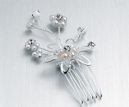 Silver Diamante and Pearl Spray Hair Comb