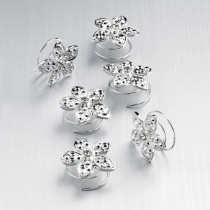 Silver Flower Crystal Swirl Hairpins - Pack of 6
