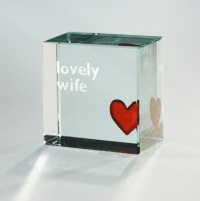 Spaceform Glass Text token- Lovely Wife