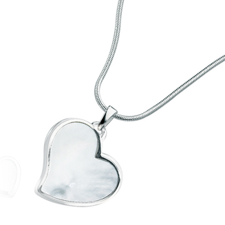 Sterling Silver Heart shaped Mother of Pearl Pendant & Chain