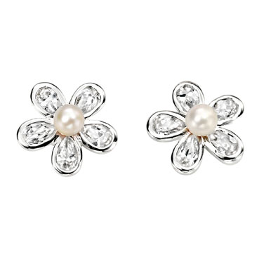 Sterling Silver with Cubic Zirconia and Pearl Flower Earrings