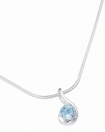 Silver & Blue Topaz Pendant Necklace on a 16'' Chain