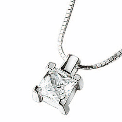 Sterling Silver & Cubic Zirconia Square Pendant & Chain