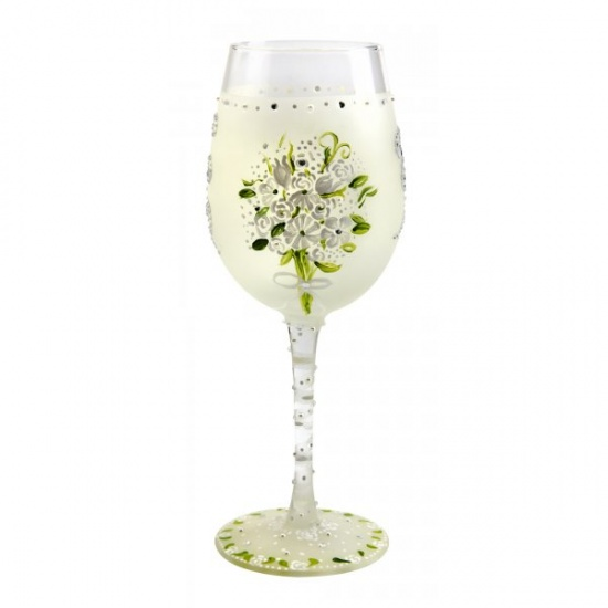 Lolita Wedding Bouquet Wine Glass - Gift Boxed Wedding Day Glass Gift