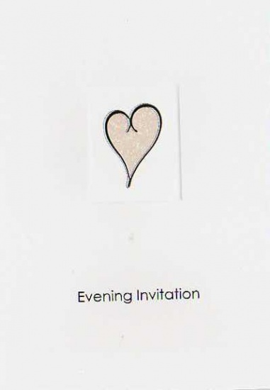 White Single Heart Luxury Wedding Evening Invitations
