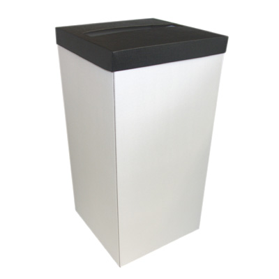 White Wedding Post Box with Black Lid - Card Receiving Box