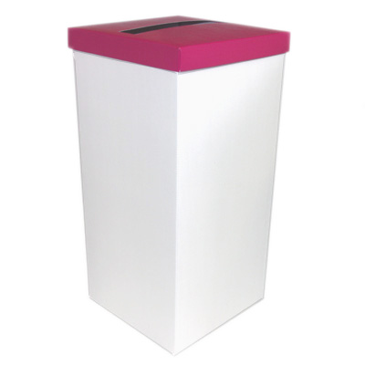 White Wedding Post Box with Hot Pink Lid - Card Receiving Box