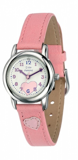 Child's D for Diamond Pink Leather Strap Watch
