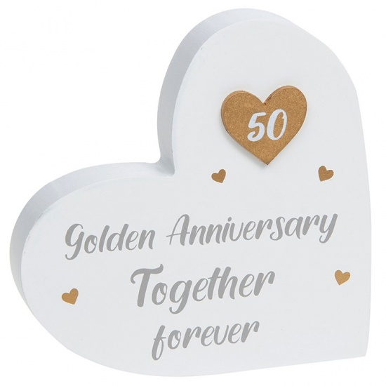 50th Golden Anniversary - Together Forever Heart Block Plaque Ornament