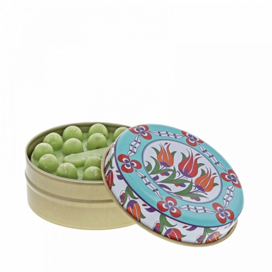 Myros traditional massage soap in a tin Turquiose & Orange Floral Circles with Olive Soap