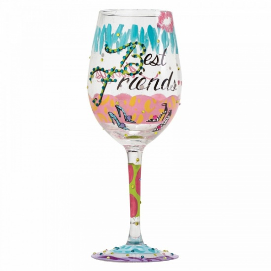 Lolita Hand Painted Best Friends Always Wine Glass Gift Boxed