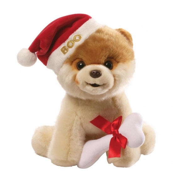 GUND - Boo with Christmas Santa Hat - The Worlds Cutest Dog - Soft Toy