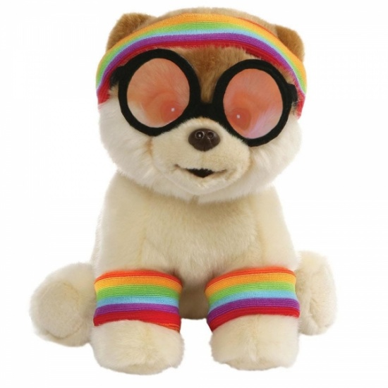 GUND Boo - Large Exercise Boo - Rainbow Leg warmers and headband - Soft Toy
