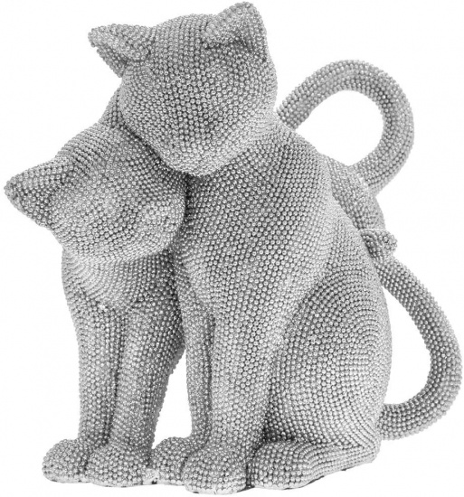 Silver Art Cats - Cuddling Cats Ornament Figurine Sparkly Glitzy Decorative 24cm