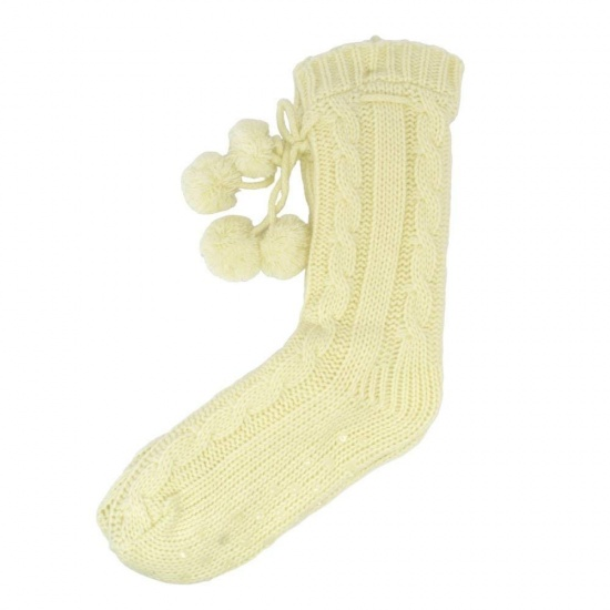 Cosy Toes Cream Cable Knit Ladies Knitted Boot Slipper Socks Size UK 4-7