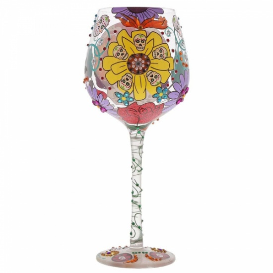Lolita Superbling Sugar Skulls Extra Large Wine Glass - Gift Boxed