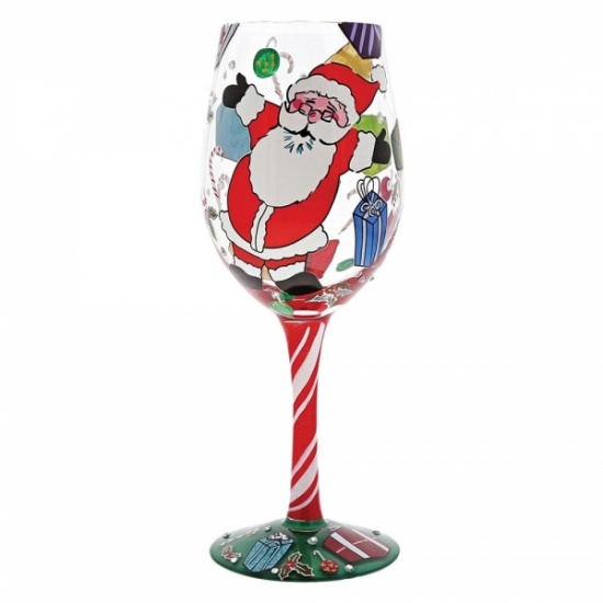 Lolita A Claus for Celebration Wine Glass Hand Painted Wine Glass - Gift Boxed