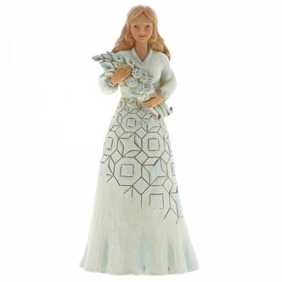 Jim Shore Wishing You A Happy Day - Girl holding flower bouquet Figurine
