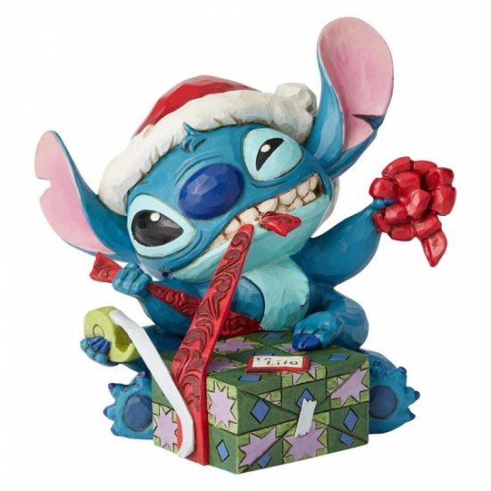 Disney Traditions Jim Shore Bad Wrap Stitch with Santa Hat Figurine